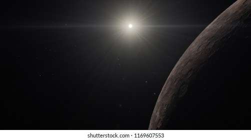 Mercury planet (Elements of this image furnished by NASA) solar lens flare 3D illustration