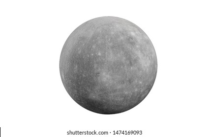 Mercury in the solar system on a white background.3d rendering.Mercury is the smallest and innermost planet in the Solar System.It is named after the Roman deity Mercury the messenger of the gods.