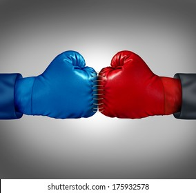 Merge powers business concept as two boxing gloves sewed and stitched together with thread as a metaphor for competitors joining forces to win market share and financial dominance working together.