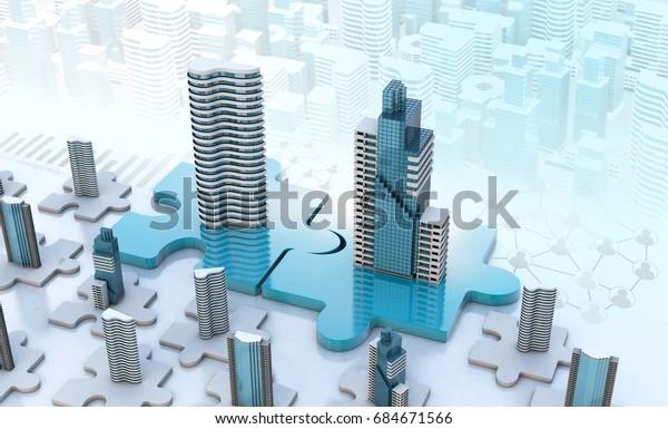 Unternehmenskonzepte für Fusion und Akquisition, Gesellschaft für Puzzleteile, 3D-Rendering