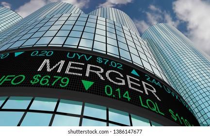 Merger Stock Market Companies Merging Together 3d Illustration
