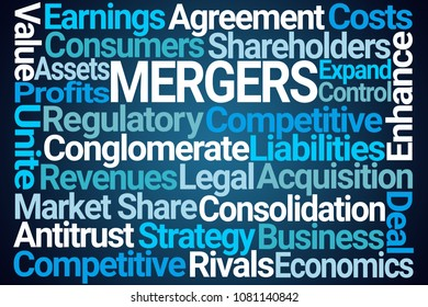 Mergers Word Cloud on Blue Background