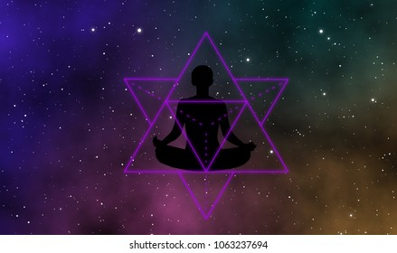 Merkaba silhouette meditation man in the galaxy graphic design background with beautiful universe and glowing stars.