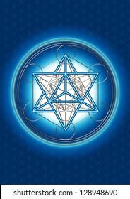 Merkaba - Star Tetrahedron - Metatrons Cube - Background - Flower Of Life