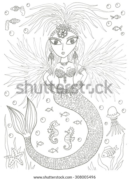 Mermaid coloring page ink line art illustration