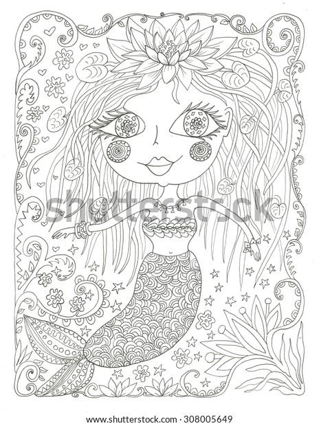Mermaid coloring page ink line art illustration
