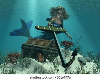 A mermaid discovers a pirate's treasure chest and ship's anchor while exploring undersea - 3D render.