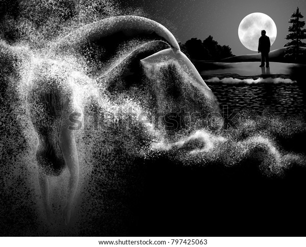 A mermaid dives into the sea at night, observed by a man standing on the shore.