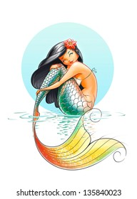 mermaid fairy-tale character illustration on white background