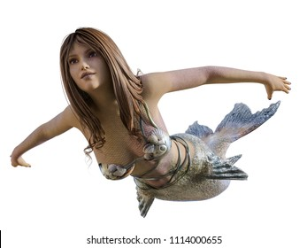 mermaid with fin and shell bra floating - isolated on white - photo realistic 3D render