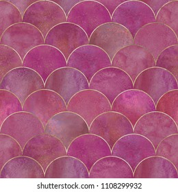 Mermaid fish scale wave japanese luxury seamless pattern. Watercolor hand drawn dark magenta pink background with gold line. Watercolour scale shaped texture. Print for textile, wallpaper, wrapping.