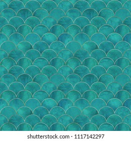 Mermaid fish scale wave japanese luxury seamless pattern. Watercolor hand drawn dark teal turquoise background with gold line. Watercolour scale shaped texture. Print for textile, wallpaper, wrapping