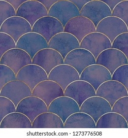 Mermaid fish scale wave japanese luxury seamless pattern. Watercolor hand drawn purple blue teal background with gold line. Watercolour scale shaped texture. Print for textile, wallpaper, wrapping