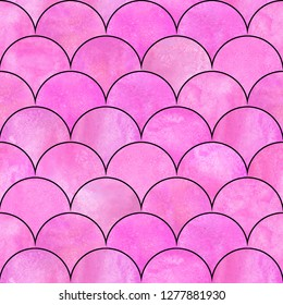 Mermaid fish scale wave japanese magic seamless pattern. Watercolor hand drawn bright pink color background with black contour. Watercolour scale shaped texture. Print for textile, wallpaper, wrapping