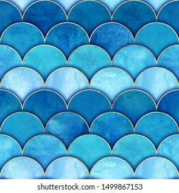 Mermaid fish scale wave japanese magic seamless pattern. Watercolor hand drawn blue teal color background. Watercolour scales shaped texture. Paper cut style, 3d effect. Print for textile, wallpaper.