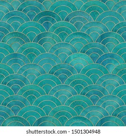 Mermaid fish scale wave japanese magic seamless pattern. Watercolor hand drawn bright teal color background with gold contour. Watercolour scale shaped texture. Print for textile, wallpaper, wrapping.