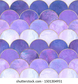 Mermaid fish scale wave japanese magic seamless pattern. Watercolor hand drawn purple color background with gold contour. Watercolour scale shaped texture. Print for textile, wallpaper, wrapping.
