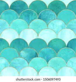 Mermaid fish scale wave japanese magic seamless pattern. Watercolor hand drawn teal colored background with gold contour. Watercolour scale shaped texture. Print for textile, wallpaper, wrapping.
