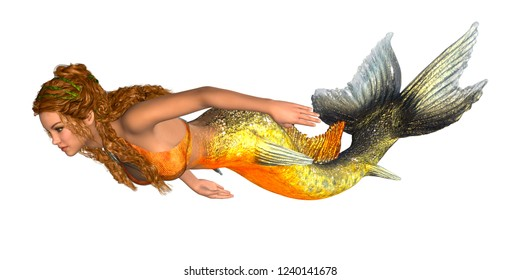 Mermaid with golden fishtail and long curly hair isolated on white. 3D rendering.