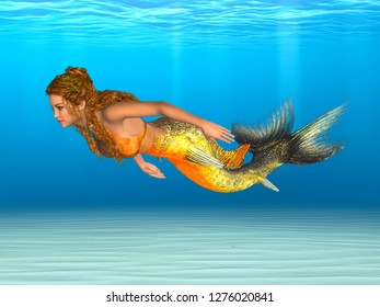 Mermaid with golden fishtail, swimming in sea. 3D rendering.