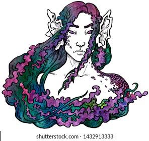 Mermaid. Portrait of mystical girl. Hand drawn ink and watercolor illustration. Magic creature, fairy illustration. Print, tattoo
