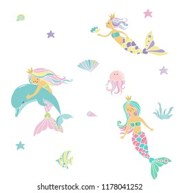 mermaid print pattern