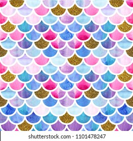 Mermaid scales. Watercolor fish scales. Bright summer pattern with reptilian scales. Glitter gold scales.