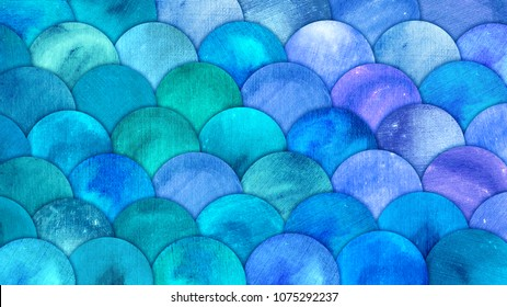 Mermaid Scales Watercolor Fish squame background. Bright summer blue sea pattern with reptilian scales abstract.