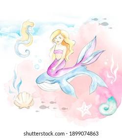 mermaid and seashells children's illustration in watercolor technique for souvenirs, fabrics