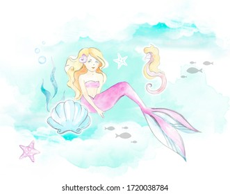 Mermaid and seashells watercolor children's illustration