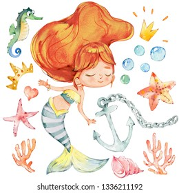 Mermaid Watercolor Character Anchor Ocean Set. Young Underwater Woman Nymph Adorable Teenage Princess. Mythical Aquatic Isolated Nymph Painting. Sea Creature Kit Flat Cartoon Illustration