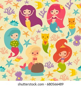 Mermaids girls pattern. Cute cartoon card with little mermaid seamless pattern. Cat mermaid under the sea. Fish, corals and seaweed cartoon style