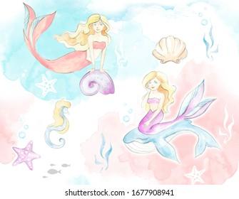 Mermaids and seashells watercolor children's illustration