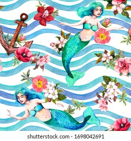 Mermaids swimming in sea waves with flowers and anchors. Feminine vintage seamless pattern. Marine watercolor for female or girly design