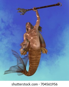 Merman 3d illustration - A Merman is a mythical legendary creature who may be a handsome seductor made of a man with a fish tail.