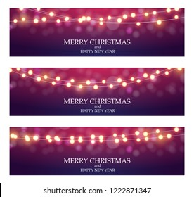 Merry Christmas Abstract Ligth Bulb Garland Background  Illustration