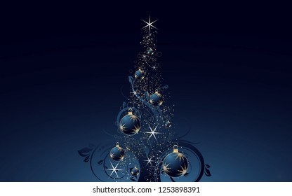 Merry Christmas Background with decorative ornaments baubles stars and blue background