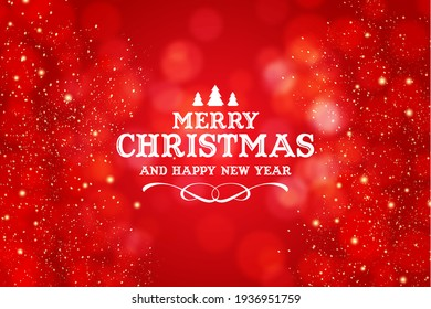 merry christmas background in red color and some glitters