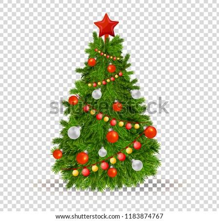 Merry Christmas Beautiful Realistic Christmas Tree Stock ...