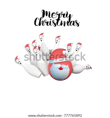 merry christmas bowling ball pin pirate stock illustration 777765892