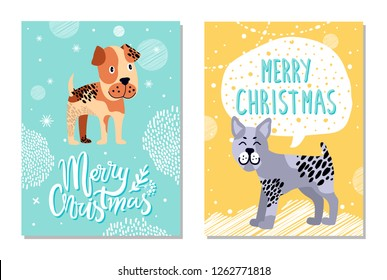Merry Christmas, calendar images with titles and icons of dogs of different breed and color, pic with pattern and snowfall on raster illustration