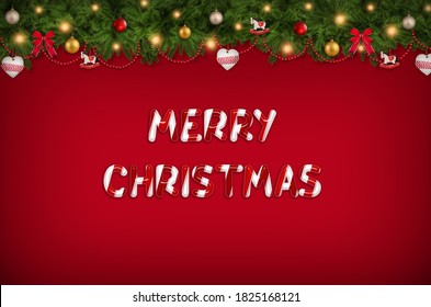 Merry Christmas candy letters, background
