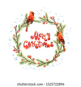 Merry Christmas Card with Cardinal bird, wreath of fir and red berries