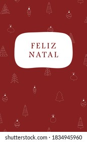 Merry Christmas - Christmas card with the Portuguese text on a festive, red pattern background