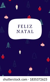 Merry Christmas - Christmas card with the Portuguese text on a festive, blue pattern background