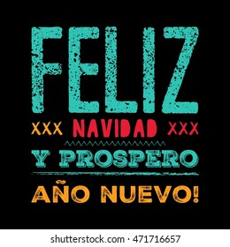 Merry Christmas card template with greetings in spanish language. Feliz navidad y prospero ano nuevo