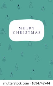 Merry Christmas - Christmas card with the text on a festive pattern background