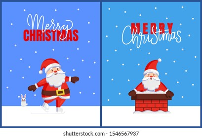 Merry Christmas cards with Santa look out from chimney. raster cartoon image of Jack Frost with hare helper. Character of Father Xmas in stovepipe