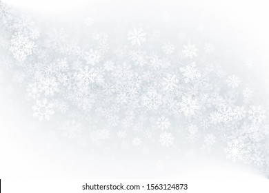 Merry Christmas Clear Blank Abstract Background. 3D Frost Effect On Glass With Realistic Snowflakes Overlay On Light Silver Backdrop. Xmas Holidays Illustration In Ultra High Definition Quality