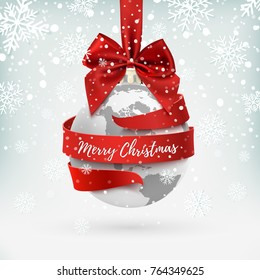 Merry Christmas, earth icon with red bow and ribbon around, hollyday decoration on winter background. Greeting card, brochure or poster template.